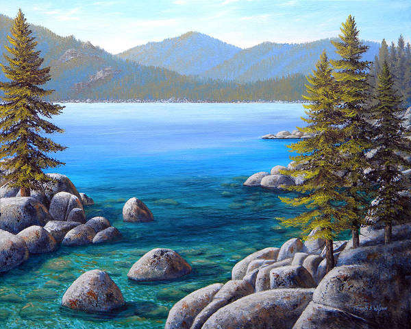 Northern California Wall Art - Painting - Lake Tahoe Inlet by Frank Wilson