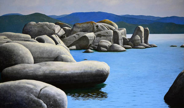 Mountain Lake Painting - Lake Tahoe Rocky Cove by Frank Wilson