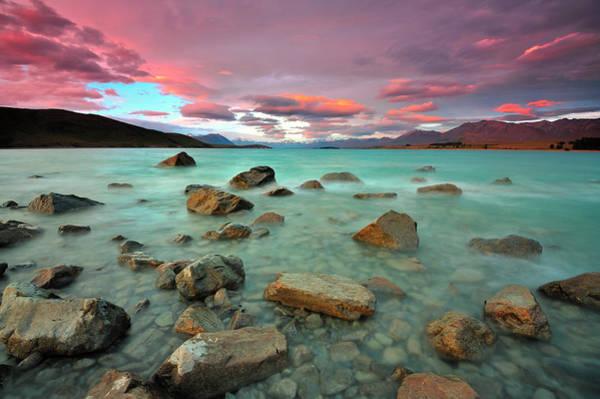Turquoise Lake Photograph - Lake Tekapo At Dusk by Nadly Aizat Images