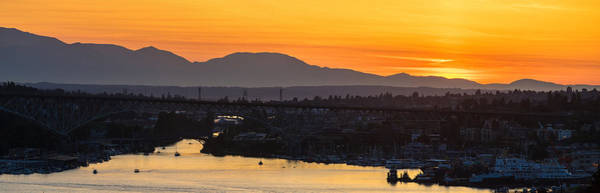 Seattle Skyline Photograph - Lake Union Cascades Mountains Sunset Glow by Mike Reid