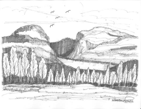Drawing - Lake Willoughby Vermont by Richard Wambach