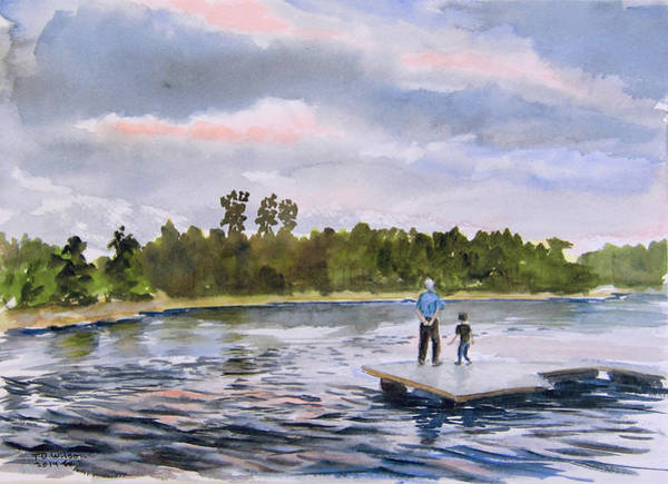 Painting - Sold - Lake Woodlands Sunset With Grandson by TD Wilson