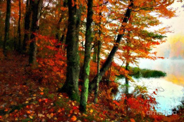Gold Leaves Digital Art - Lakeside Beauty by Lianne Schneider