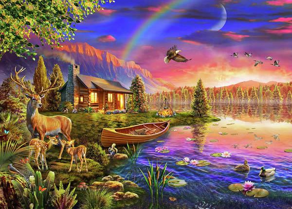 Deer Drawing - Lakeside Cabin  by MGL Meiklejohn Graphics Licensing