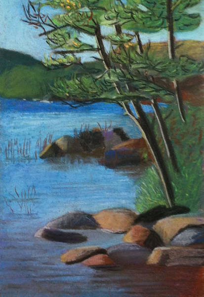 Pastel - Lakeside Pines by Jane Croteau