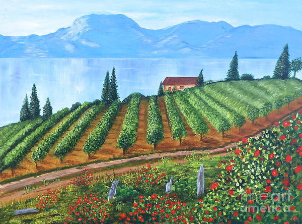 Lakeside Vineyard Art Print