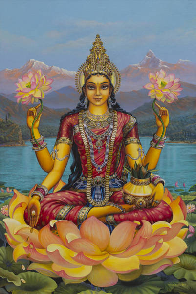 Wall Art - Painting - Lakshmi Devi by Vrindavan Das