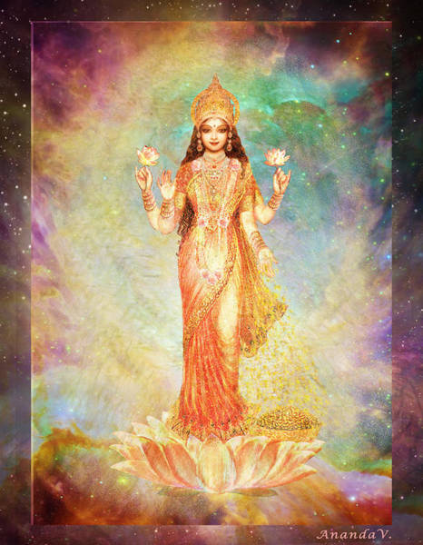 Wall Art - Mixed Media - Lakshmi Floating In A Galaxy by Ananda Vdovic