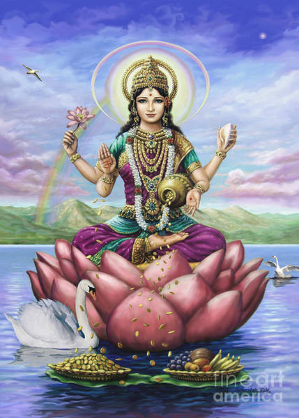 Painting - Lakshmi Goddess Of Fortune by Vishnudas Art