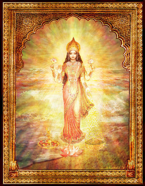 Wall Art - Mixed Media - Lakshmi The Goddess Of Fortune And Abundance by Ananda Vdovic