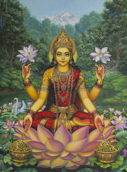 Asian Wall Art - Painting - Lakshmi by Vrindavan Das