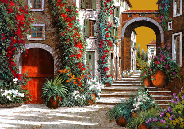 Wall Art - Painting - L'altra Porta Rossa Al Tramonto by Guido Borelli