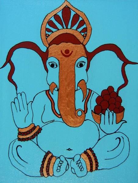 Ganesh Chaturthi Painting - 19 Lambakarna-large Eared Ganesha by Kruti Shah