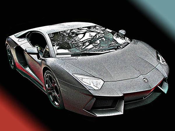 Lamborghini Aventador In Matte Black Finish Art Print