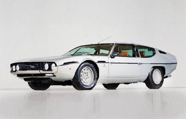 Car Mixed Media - Lamborghini Espada Watercolor by Naxart Studio