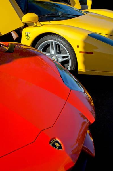 Photograph - Lamborghini - Ferrari Front Ends -0160c by Jill Reger