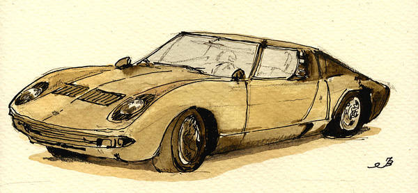 Vehicles Wall Art - Painting - Lamborghini Miura by Juan  Bosco