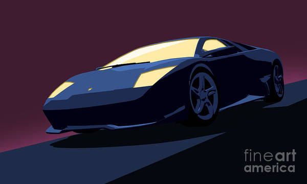 Wall Art - Digital Art - Lamborghini Murcielago - Pop Art by Pixel  Chimp