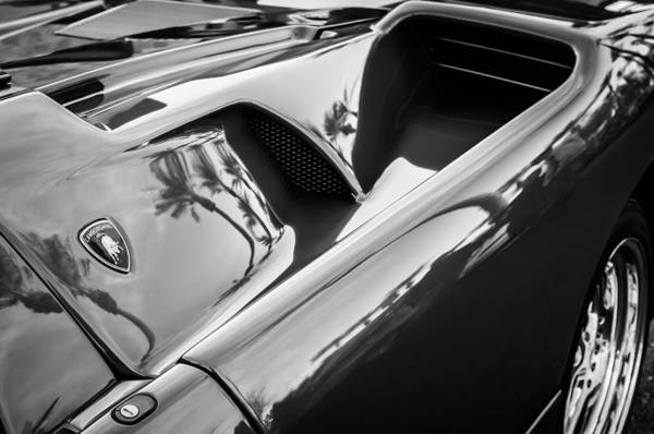 Photograph - Lamborghini Side Emblem -0116bw by Jill Reger