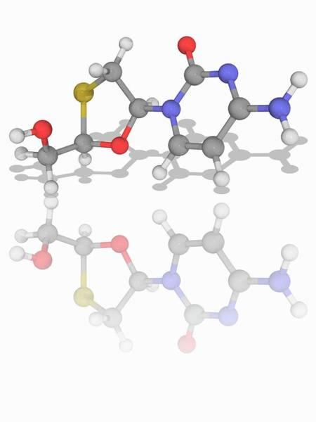 Reverse Wall Art - Photograph - Lamivudine Drug Molecule by Laguna Design/science Photo Library
