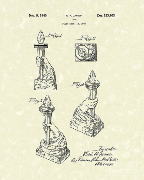 Wall Art - Drawing - Lamp 1940 Patent Art by Prior Art Design