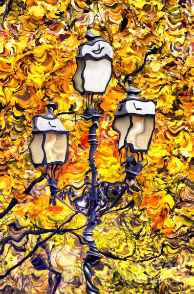 Painting - Lamp In Autumn Park  by Odon Czintos