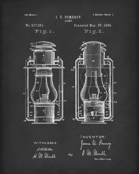 Drawing - Lamp Pomeroy 1894 Patent Art Black by Prior Art Design