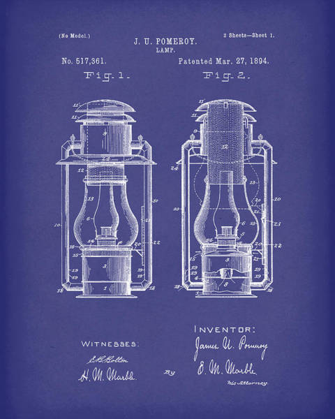 Drawing - Lamp Pomeroy 1894 Patent Art Blue by Prior Art Design