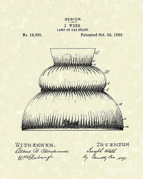Drawing - Lamp Shade 1889 Patent Art by Prior Art Design