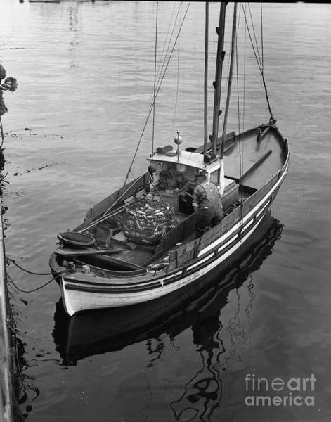 Photograph - Lampara Fishing  Boat In Monterey Harbor 1940 by California Views Archives Mr Pat Hathaway Archives