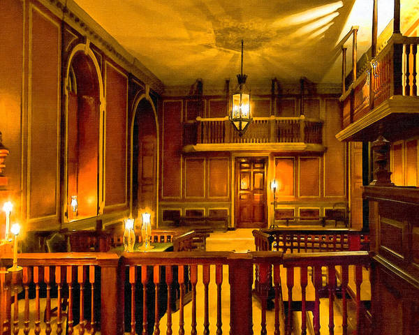 Photograph - Lamplight In Virginia's Colonial Capitol by Mark Tisdale