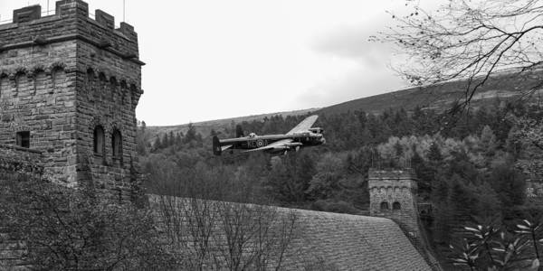 Digital Art - Lancaster At The Derwent Dam Black And White Version by Gary Eason