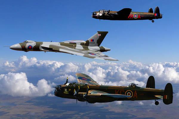 Vulcan Bomber Photograph - Lancaster Bombers And Vulcan Xh558 by Ken Brannen
