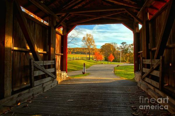 Photograph - Lancaster County Covered Bridge Frame by Adam Jewell
