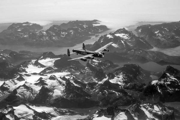 Digital Art - Lancaster Over Greenland Black And White Version by Gary Eason