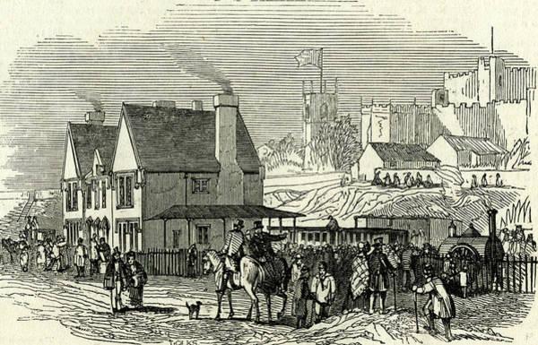 Railroad Station Drawing - Lancaster Station U.k by English School