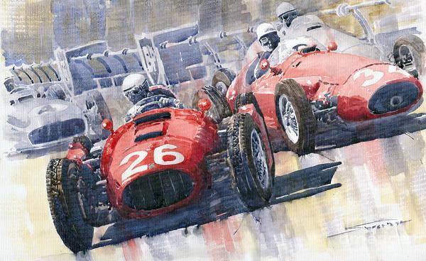 Racing Car Wall Art - Painting - Lancia D50 Alberto Ascari Monaco 1955 by Yuriy Shevchuk