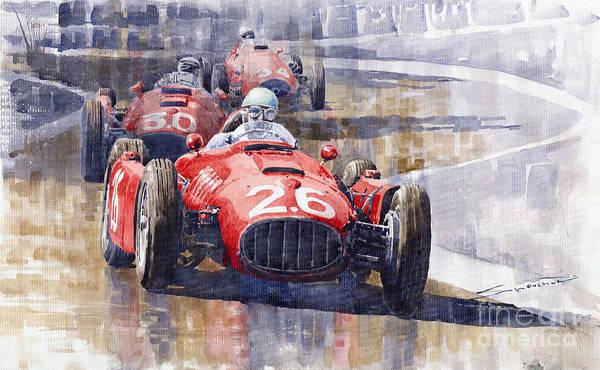 Sports Car Painting - Lancia D50 Monaco Gp 1955 by Yuriy Shevchuk