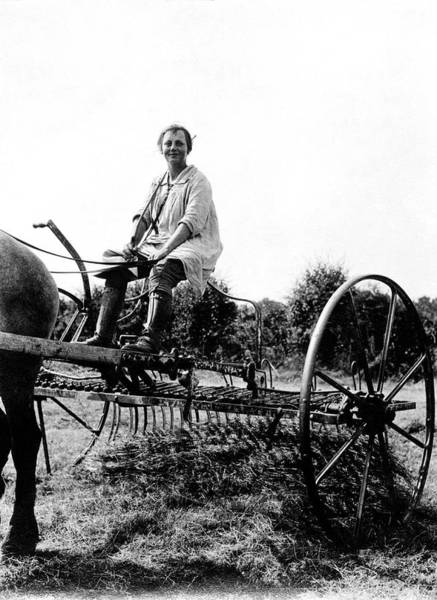 Hay Rake Photograph - Land Army Girl by Oxfordshire History Centre/oxford University Images