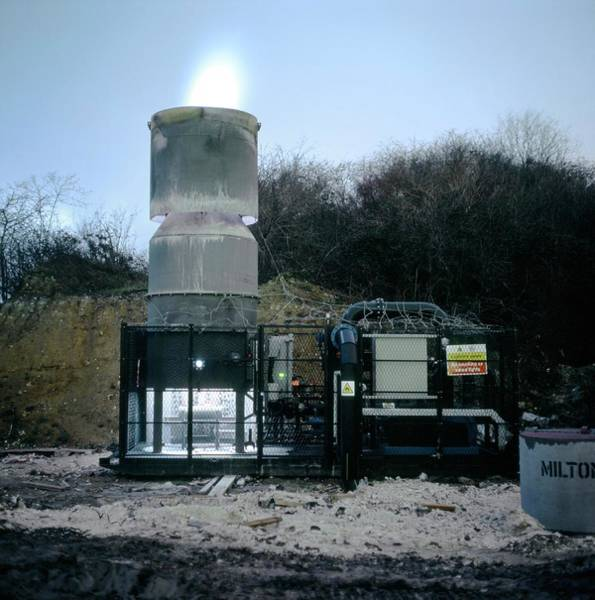 Vent Photograph - Landfill Gas Flare by Robert Brook/science Photo Library