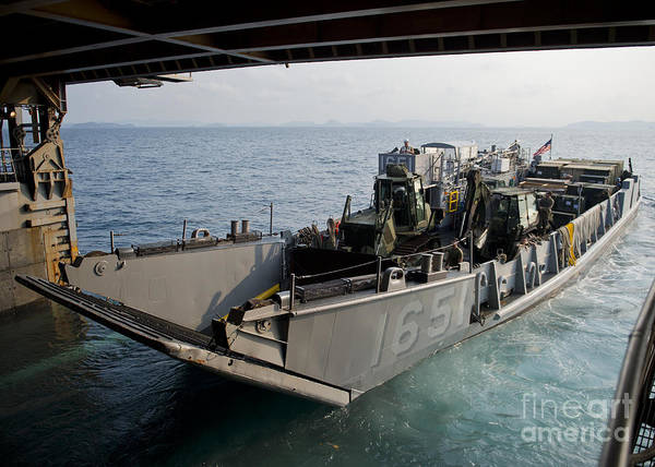 Uss Whidbey Island Photograph - Landing Craft Utility Departs The Well by Stocktrek Images