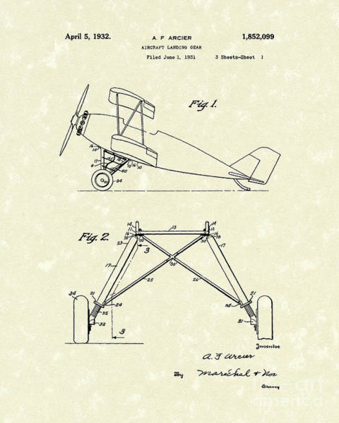 Drawing - Landing Gear 1932 Patent Art by Prior Art Design