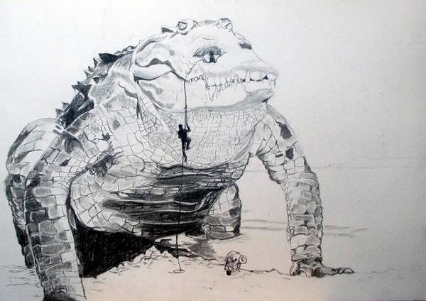 Surrealist Drawing - Landing by Lazaro Hurtado