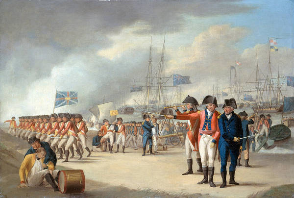 Marching Painting - Landing Of British Troops Under Sir by Robert Dodd