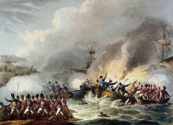 Explosion Drawing - Landing Of The British Troops In Egypt by William Heath