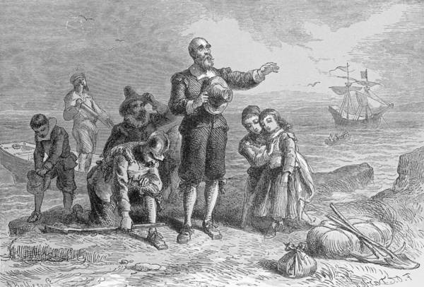 Plymouth Rock Photograph - Landing Of The Pilgrims, 1620, Engraved By A. Bollett, From Harpers Monthly, 1857 Engraving B&w by Felix Octavius Carr Darley
