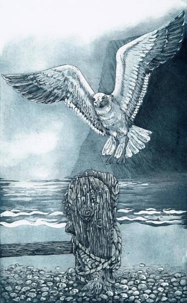 Aqua Drawing - Landing Post, 2018, (etching/aquatint) by Jane Peart