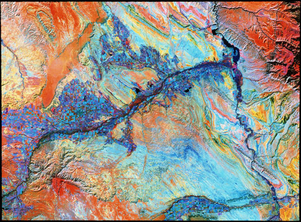 Wall Art - Photograph - Landsat Image Of Bighorn Basin by Mda Information Systems/science Photo Library