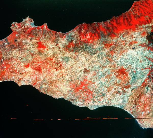 Imagery Photograph - Landsat Image Of Central Sicily by Mda Information Systems/science Photo Library