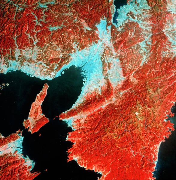 Imagery Photograph - Landsat Image Of Osaka Bay And Osaka by Mda Information Systems/science Photo Library